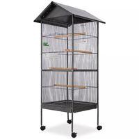 vidaXL fekete acél madárkalitka tetővel 66 x 66 x 155 cm