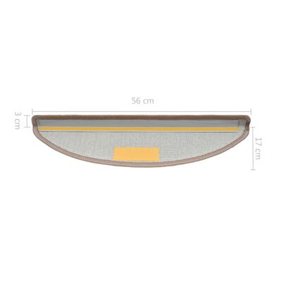 vidaXL 15 darab világosbarna lépcsőszőnyeg 56 x 17 x 3 cm