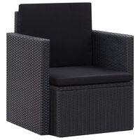 vidaXL fekete polyrattan kerti szék párnákkal