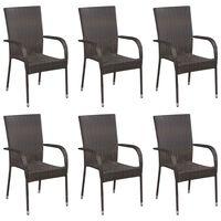 vidaXL 6 db barna rakásolható polyrattan kültéri szék