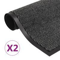 vidaXL 2 db antracitszürke négyszögletes szennyfogó szőnyeg 90x150 cm