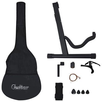 """vidaXL 12 darabos fekete klasszikus gitár kezdőkészlet 4/4 39"""""""