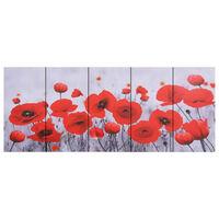 vidaXL többszínű virágmintás nyomtatott vászon falikép-szett 200x80 cm