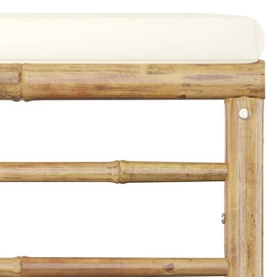 vidaXL 5 részes bambusz kerti bútorszett krémfehér párnákkal, White