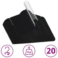 vidaXL 20 db fekete csúszásmentes bársony ruhaakasztó