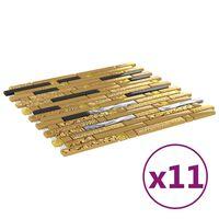 vidaXL 11 db fekete-aranyszínű öntapadó üveg mozaikcsempe 30 x 30 cm