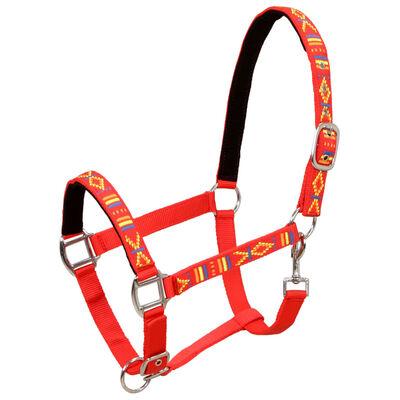 vidaXL 2 db piros színű nejlon kantár, kis hátasló méretű