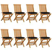 vidaXL 8 db tömör tíkfa kerti szék fekete párnával