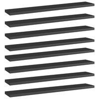 vidaXL 8 db magasfényű fekete forgácslap könyvespolc 60 x 10 x 1,5 cm