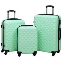 vidaXL 3 db mentazöld ABS keményfalú gurulós bőrönd