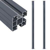 vidaXL 2 db sötétszürke alumínium kerítésoszlop 185 cm