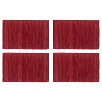 vidaXL 4 db burgundi vörös pamut chindi tányéralátét 30 x 45 cm