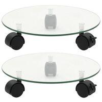 vidaXL 2 db kerek görgős virágalátét edzett üvegből, 28 cm átmérőjű