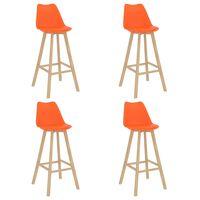vidaXL 4 db narancssárga PP és tömör bükkfa bárszék
