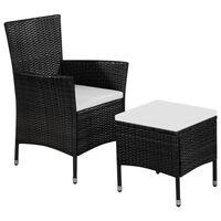 vidaXL fekete polyrattan kültéri szék zsámollyal és párnákkal
