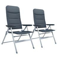 vidaXL 2 db szürke dönthető háttámlás alumínium kerti szék