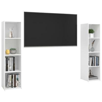 vidaXL 2 db magasfényű fehér forgácslap TV-szekrény 142,5x35x36,5 cm