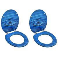 vidaXL 2 db kék vízcseppmintás MDF WC-ülőke fedéllel