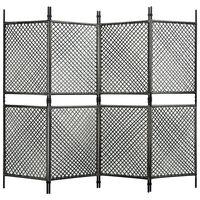 vidaXL 4 paneles antracitszürke polyrattan paraván 240 x 200 cm