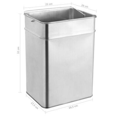 vidaXL rozsdamentes acél szemeteskuka hamutartóval 45 liter