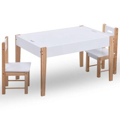 vidaXL 3-részes fekete és fehér táblás gyerekasztal- és székkészlet