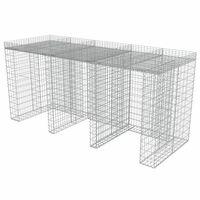 vidaXL horganyzott acél gabion fal szemeteskukákhoz 270 x 100 x 130 cm