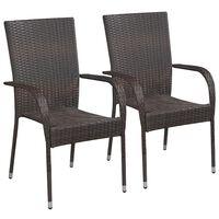 vidaXL 2 db barna rakásolható polyrattan kültéri szék