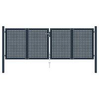 vidaXL antracitszürke acél kerítéskapu 306 x 125 cm